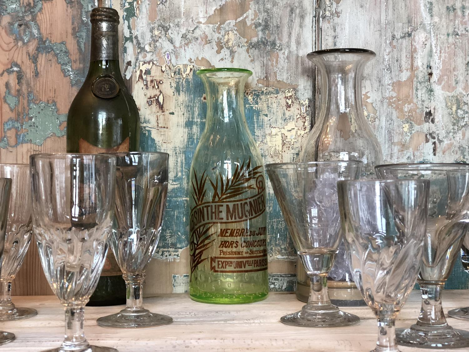 A selection of 19th Century Bistro Glasses & Absinthe Collectables