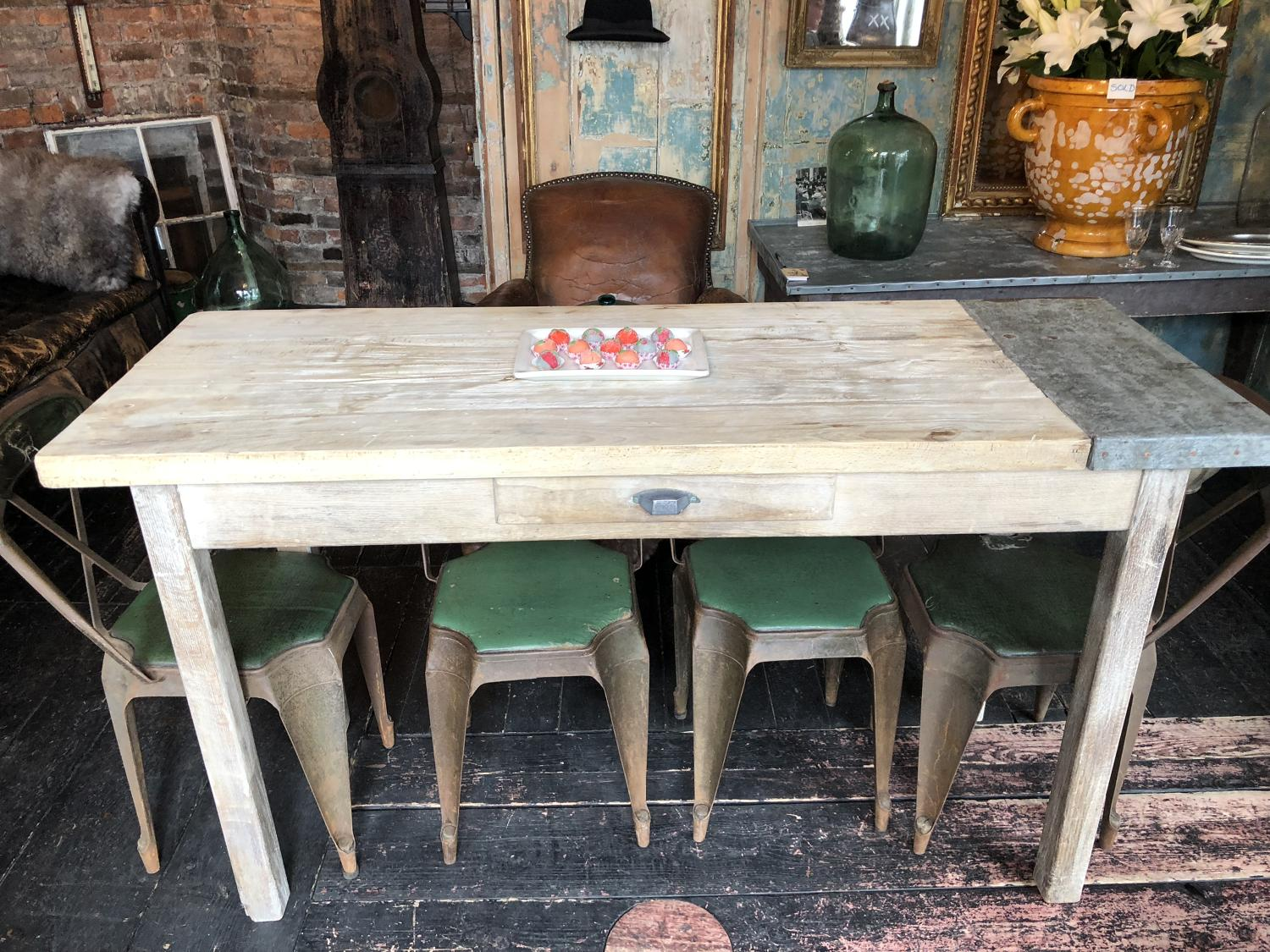 Beech and part galvanised metal farmhouse table
