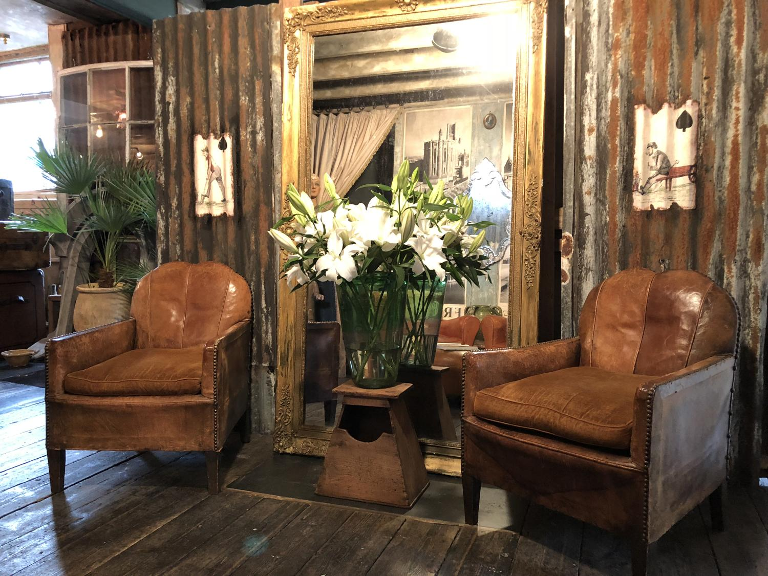 Exquisite pair of small French club/salon leather chairs c 1900