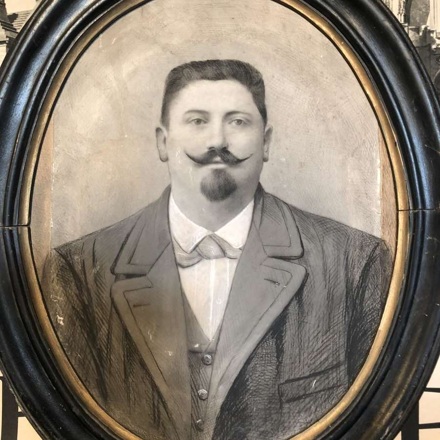 Portrait of a Moustached Gentlemen in Chalk & Charcoal