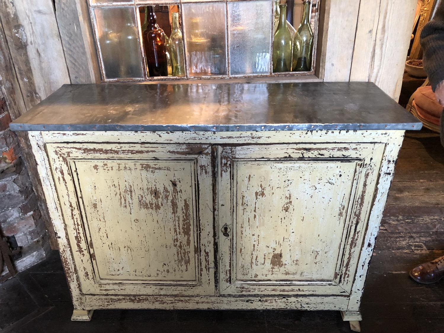 Beautifully Patinated Zinc Topped Farmhouse Cabinet