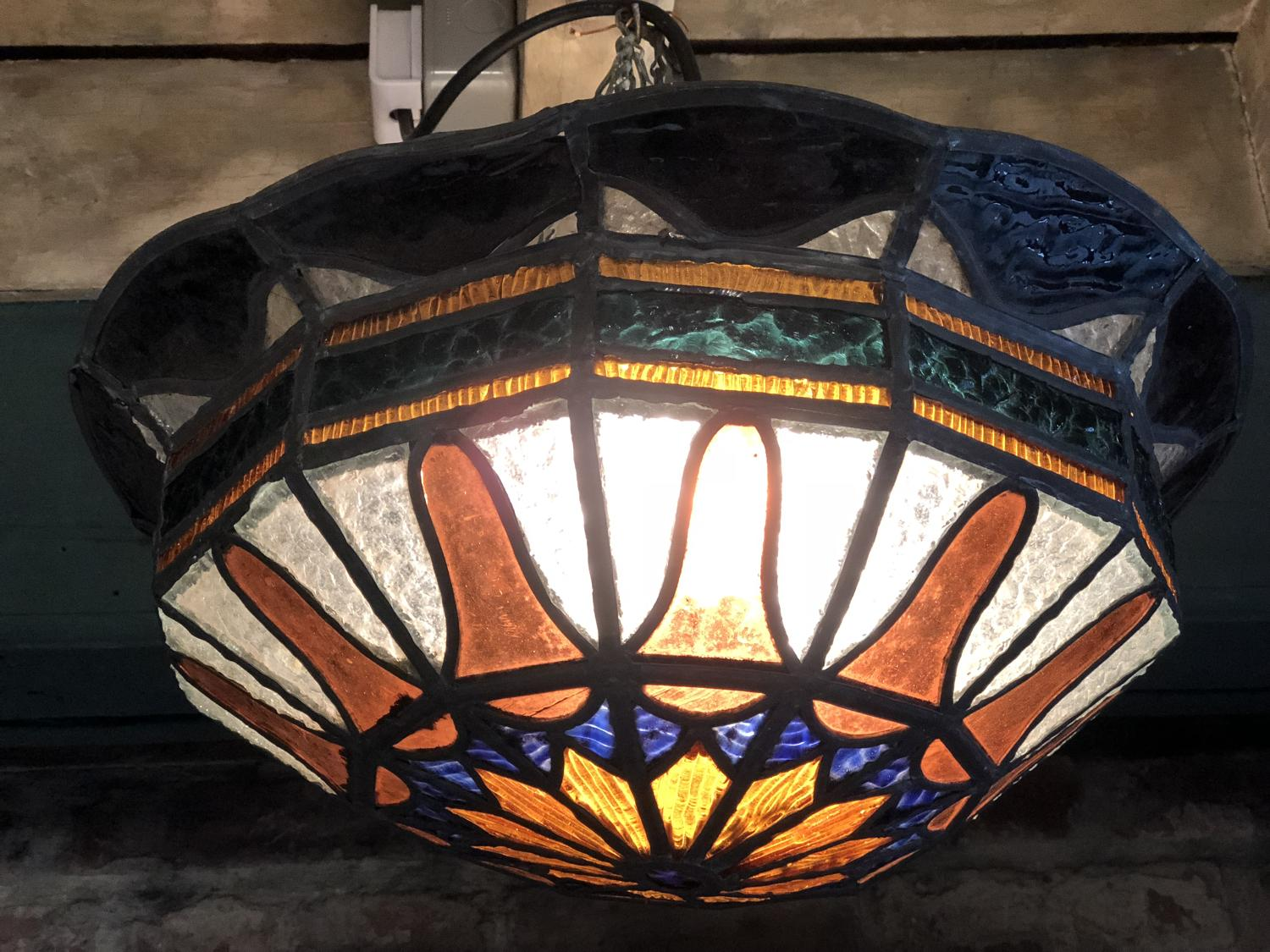 stained glass ceiling light. 1920s Stained Glass Ceiling Light - Picture 1