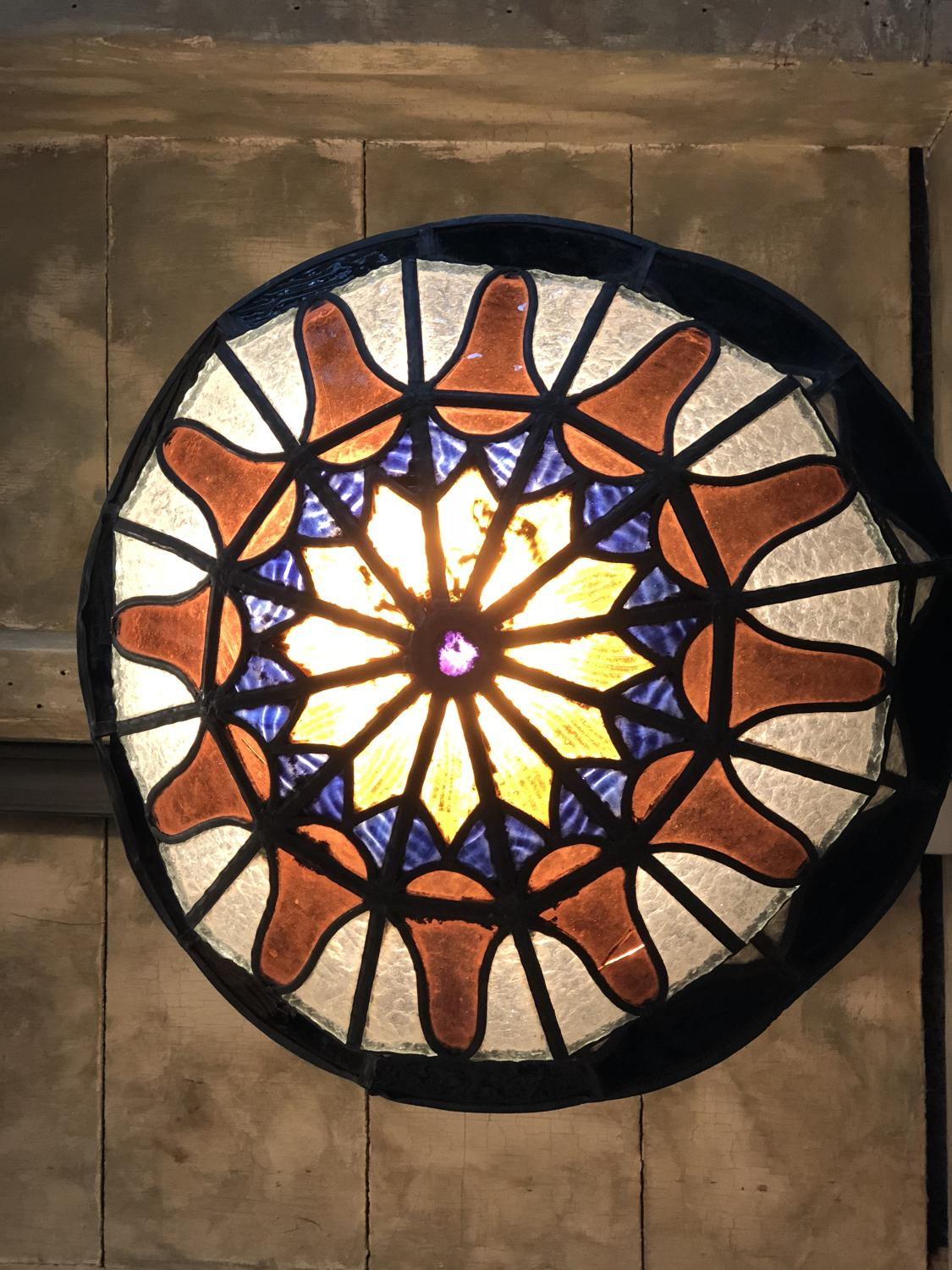 1920s Stained Glass Ceiling Light Picture 2