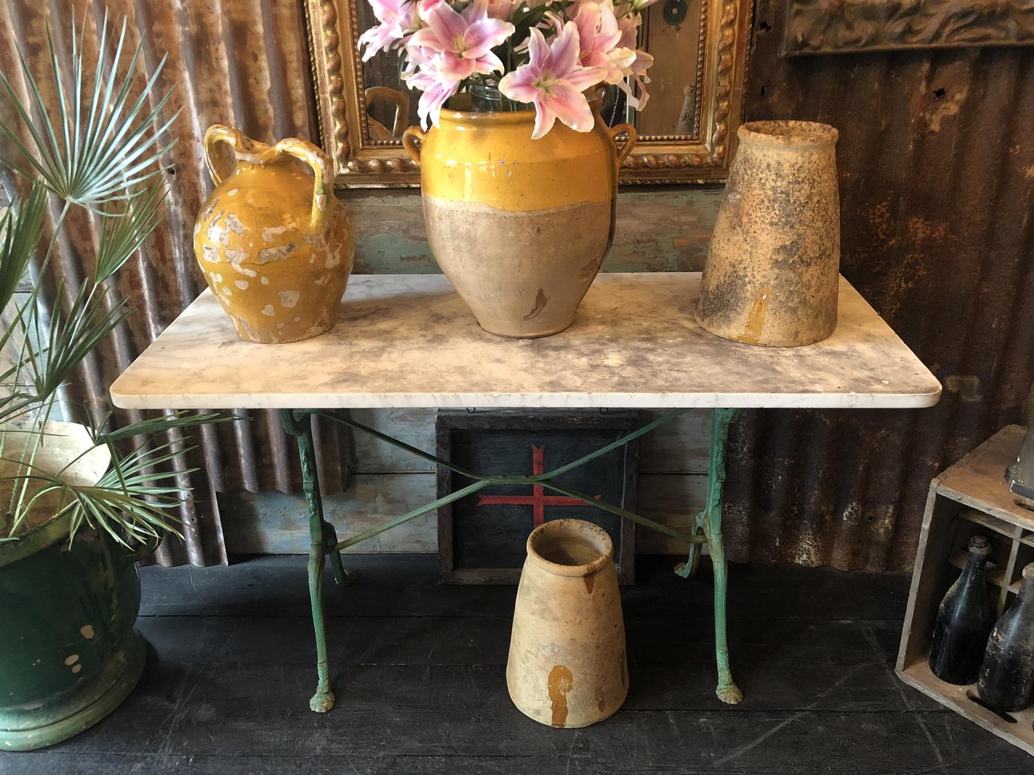 19th Century French Marble Topped Sidetable by Loubinoux Paris