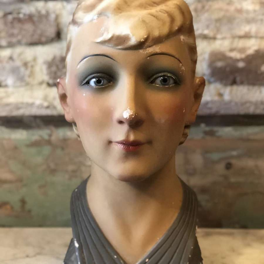 1930's French Mannequin's Head with original glass eyes