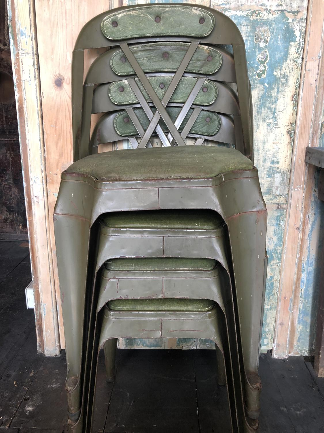 Set of 4 Evertaut industrial chairs supplied to Rye Fire Station 1937