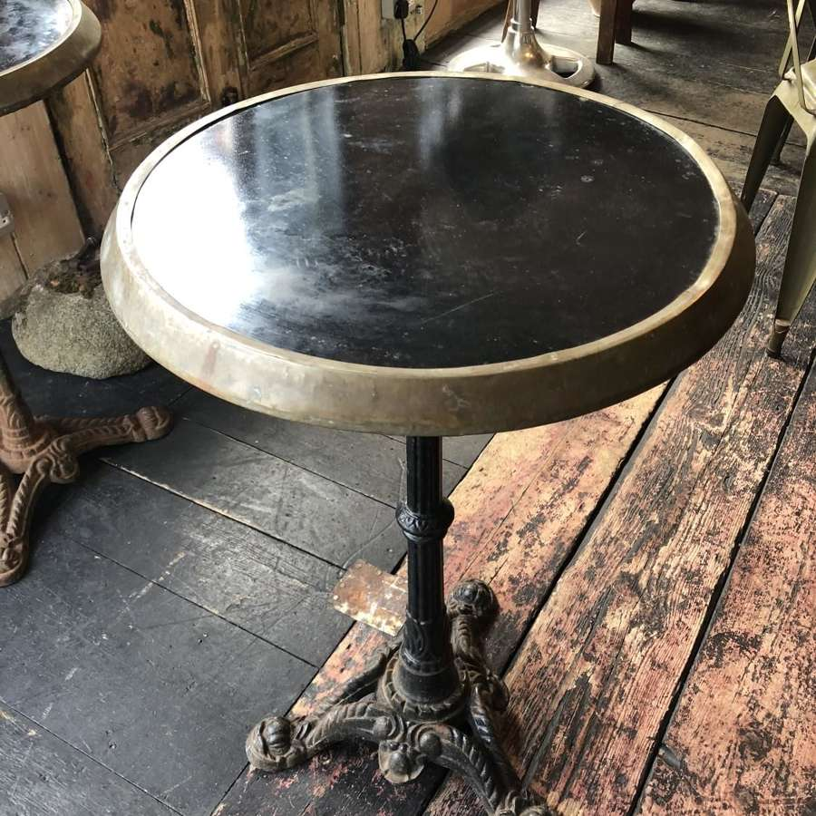 Pair of 1920's Bistro tables with original black ceramic tops