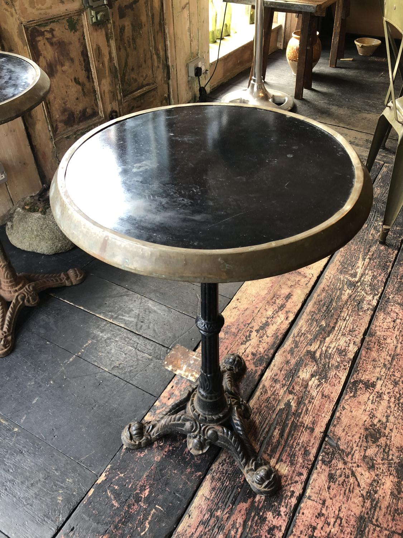 Pair of 1920's Bistro tables with original black ceramic tops