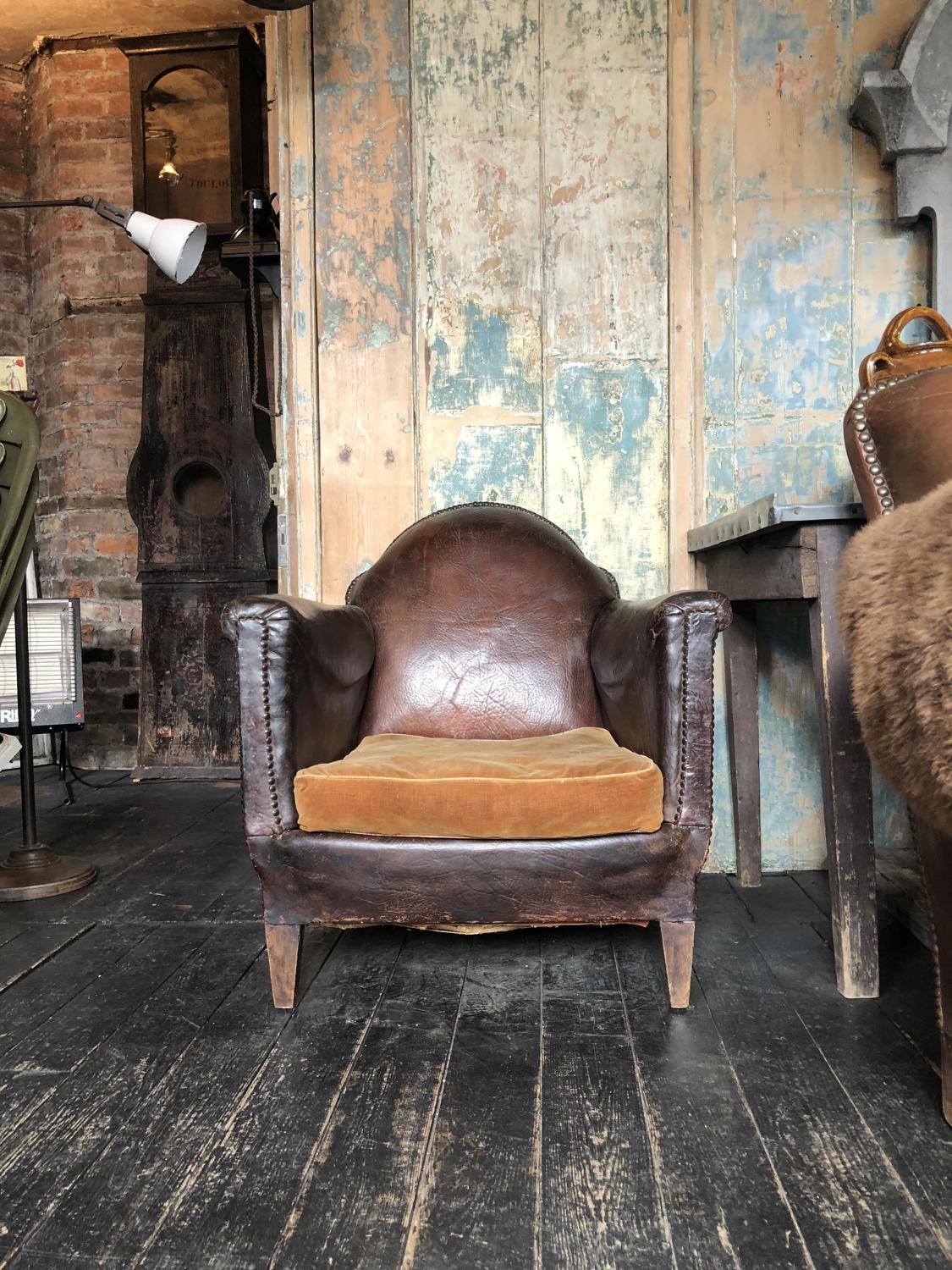 Pretty little leather French 19th C Salon Chair