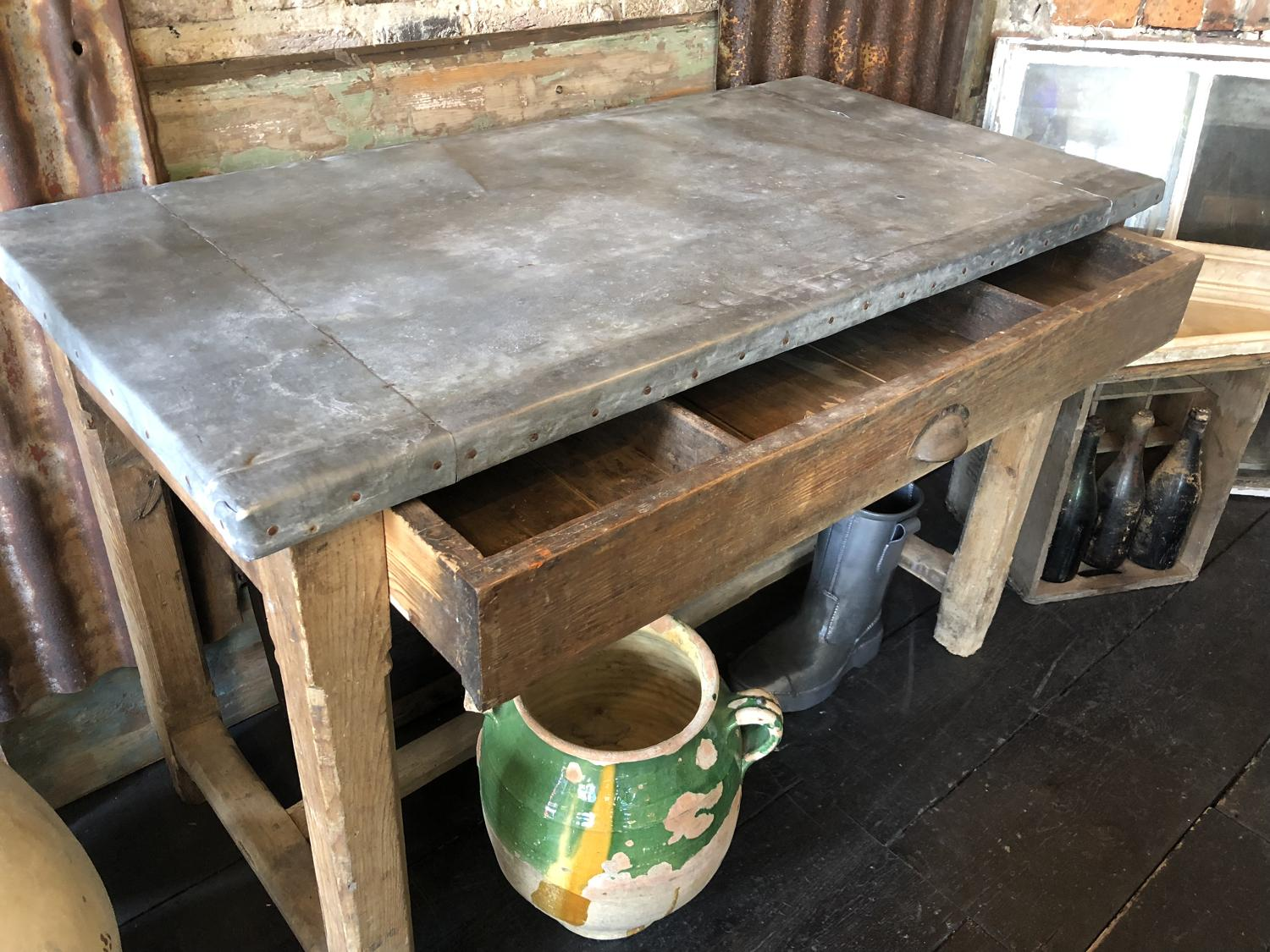 19th C Zinc Topped Table